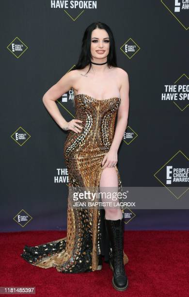British prowrestler/actress Paige arrives for the 45th annual E People's Choice Awards at Barker Hangar in Santa Monica California on November 10 2019