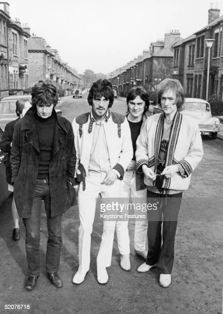 British psychedelic progressive rock group Traffic from left to right Stevie Winwood Jim Capaldi Chris Wood and Dave Mason 19th October 1967