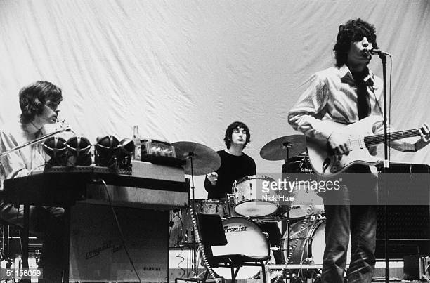 British psychedelic rock group Pink Floyd during rehearsals for the group's show 'Games for May' at the Queen Elizabeth Hall in London 12th May 1967...
