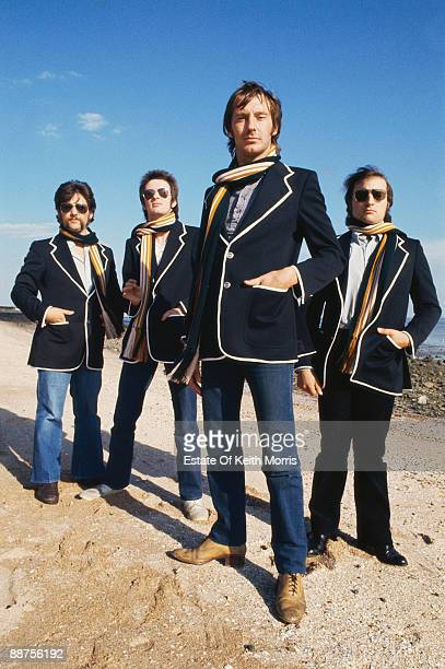 British pub rock band Dr Feelgood on Canvey Island 4th October 1977 They are guitarist John 'Gypie' Mayo vocalist Lee Brilleaux bassist John B Sparks...
