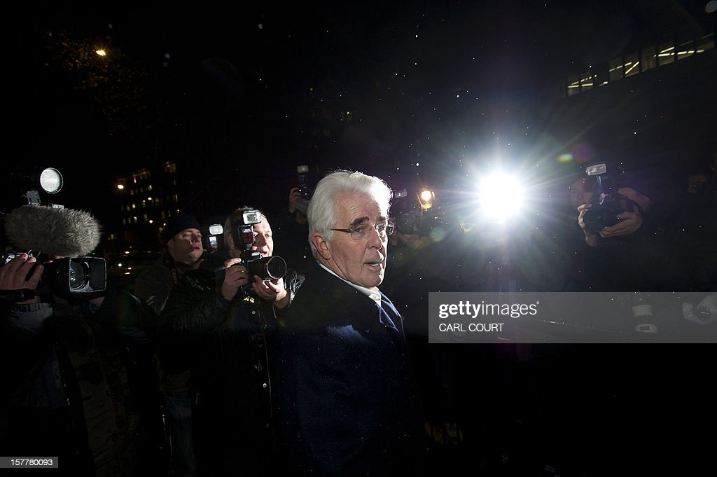 British publicist Max Clifford leaves a police station in central London on December 6, 2012 after he was released on bail following his arrest on suspicion of alleged sexual offences. Clifford on December 6 said in a statement to journalists that allegations of sexual abuse against him were 'totally untrue' following his arrest by police earlier in the day. Clifford was arrested as part of a wider investigation into sex offences sparked by allegations that late BBC presenter Jimmy Savile was a serial paedophile.