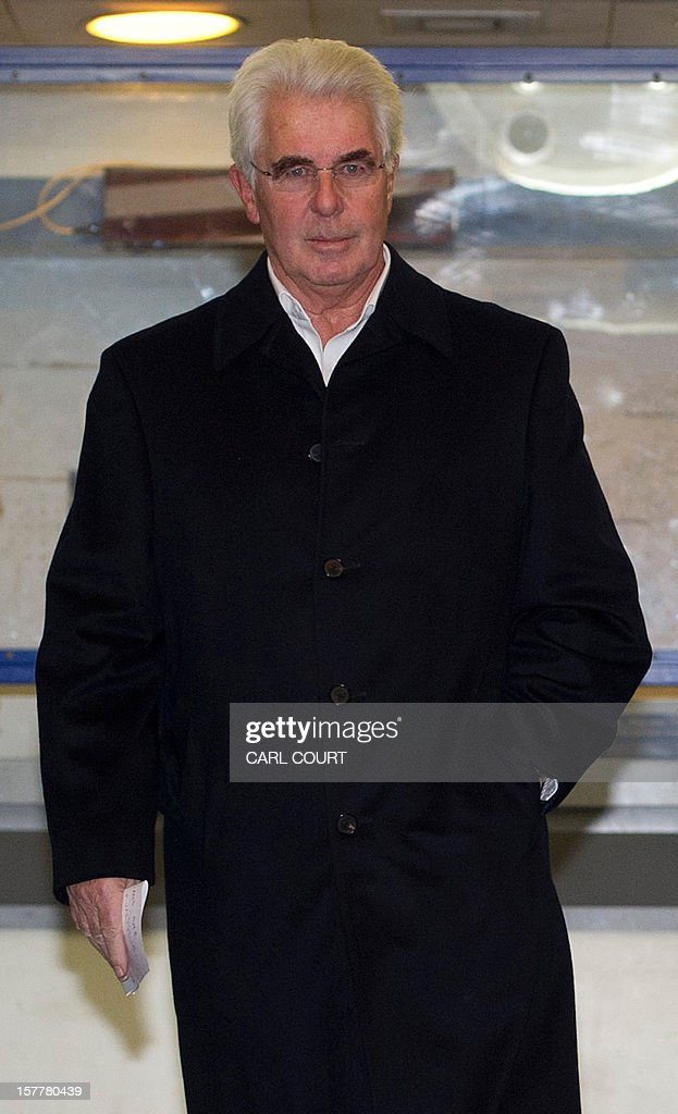 British publicist Max Clifford walks out to make a statement as he leaves a police station in central London on December 6, 2012 after he was released on bail following his arrest on suspicion of alleged sexual offences. Clifford on December 6 said in a statement to journalists that allegations of sexual abuse against him were 'totally untrue' following his arrest by police earlier in the day. Clifford was arrested as part of a wider investigation into sex offences sparked by allegations that late BBC presenter Jimmy Savile was a serial paedophile.