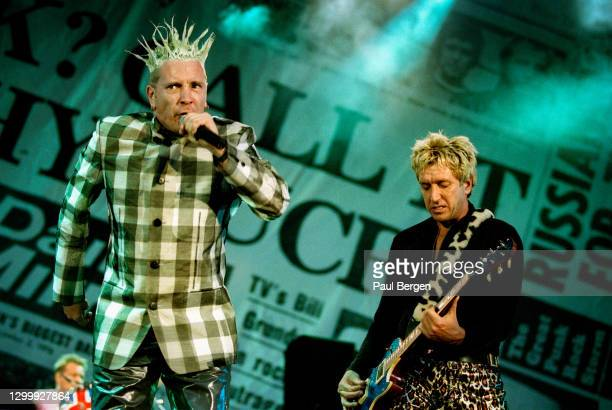 British punk band The Sex Pistols with lead singer Johnny Rotten and guitarist Steve Jones during their reunion concert at Finsbury Park, London,...