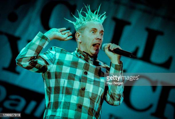 British punk band The Sex Pistols with lead singer Johnny Rotten during their reunion concert at Finsbury Park, London, England, 23 June 1996.