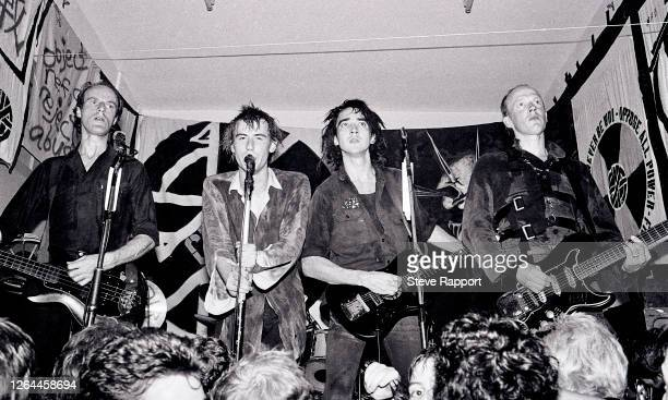 British Punk group Crass, St Phillips Community Centre, Swansea, Wales, 9/24/1981. Pictured are, from left, Pete Wright, Steve Ignorant, N A Palmer ,...