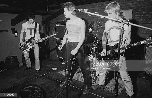 British punk group Generation X performing at Rafters, Manchester, 30th June 1977. Left to right: Tony James, Billy Idol and Bob Andrews.