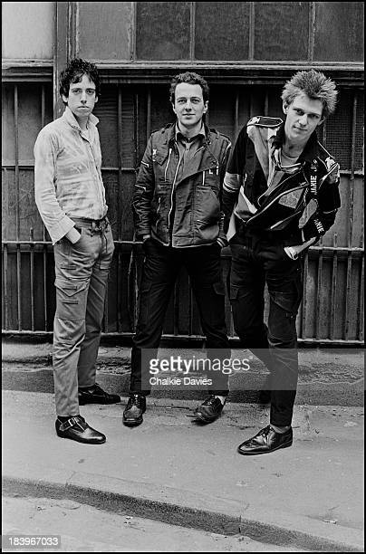 British punk group The Clash in north London April 1977 Left to right guitarist Mick Jones singer Joe Strummer and bassist Paul Simonon
