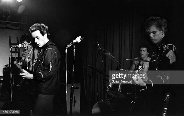 British punk group The Clash performing at the Coliseum Harlesden London 11th March 1977 Left to right Mick Jones Joe Strummer Terry Chimes and Paul...