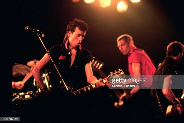 British punk group The Clash, performing in New York, September 1979. Left to right: Mick Jones, Paul Simonon and Joe Strummer .