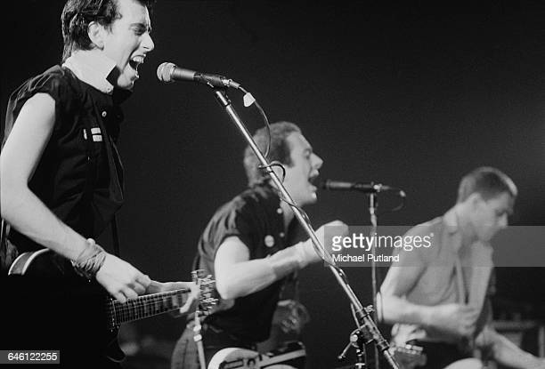 British punk group The Clash, performing in New York, September 1979. Left to right: Mick Jones, Joe Strummer (1952 - 2002 and Paul Simonon.