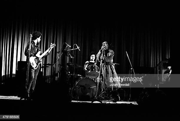 British punk group The Slits performing at the Coliseum Harlesden London 11th March 1977 Left to right Tessa Pollitt Palmolive and Ari Up The group...