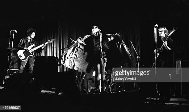 British punk group The Slits performing at the Coliseum Harlesden London 11th March 1977 Left to right Tessa Pollitt Ari Up and Kate Korus The group...