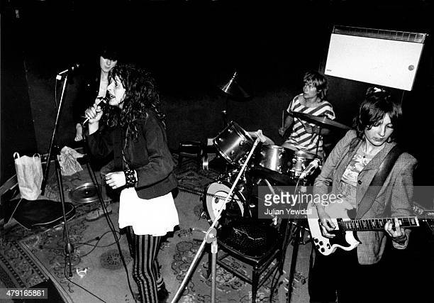 British punk group The Slits rehearsing in the basement at 6 Surrendale Place Maida Vale London 1977 Left to right Tessa Pollitt Ari Up Palmolive and...