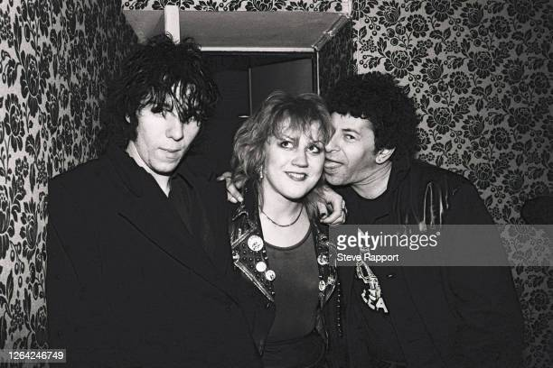 British Punk musicians Charlie Harper and Alvin Gibbs, both of the group UK Subs, and Beki Bondage, of the group Vice Squad, backstage during the...