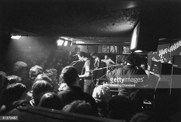 British punk pop group the Stranglers perform at the Hope and Anchor in Islington 22nd November 1977