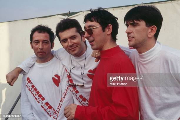 British punk rock band Buzzcocks at Reading Festival 25th August 1990 they are Pete Shelley Steve Diggle Steve Garvey and Mike Joyce