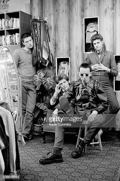 British punk rock band The Drones 15th March 1977 Left to right guitarist Gus 'Gangrene' Callendar drummer Peter 'Perfect' Howells bassist Steve...