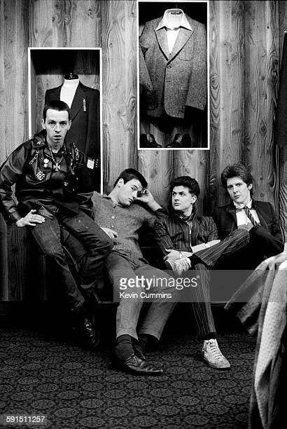 British punk rock band The Drones 15th March 1977 Left to right bassist Steve 'Whisper' Cundall guitarist Gus 'Gangrene' Callendar singer MJ Drone...