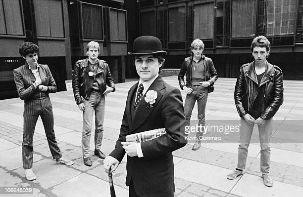 British punk rock band The Drones 2nd March 1978 Left to right singer MJ Drone guitarist Gus 'Gangrene' Callendar unknown drummer Peter 'Perfect'...