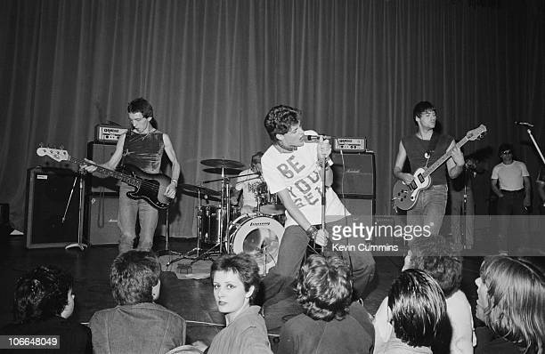 British punk rock band The Drones perform at Middleton Civic Hall in Manchester 26th August 1977 Left to right Steve 'Whisper' Cundall Peter...