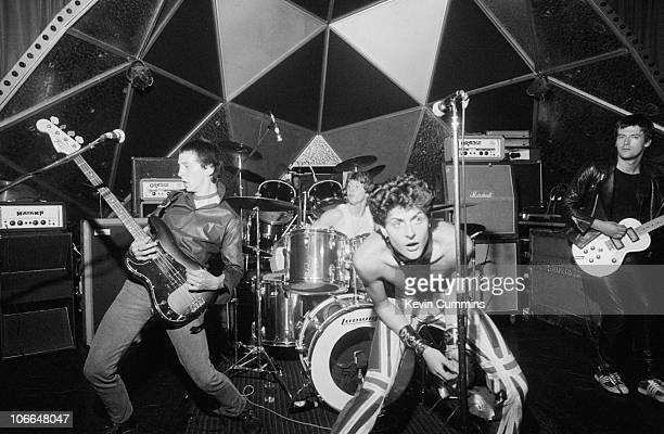 British punk rock band The Drones perform at Top Rank Sheffield 12th June 1977 Left to right Steve 'Whisper' Cundall Peter 'Perfect' Howells MJ Drone...