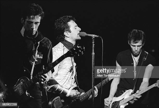 British punk rock group the Clash, from left, Mick Jones, Joe Strummer, and Paul Simenon, perform at the Palladium , New York, New York, September...