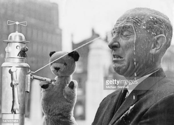 British puppeteer Harry Corbett with his popular glove puppet Sooty 11st September 1965