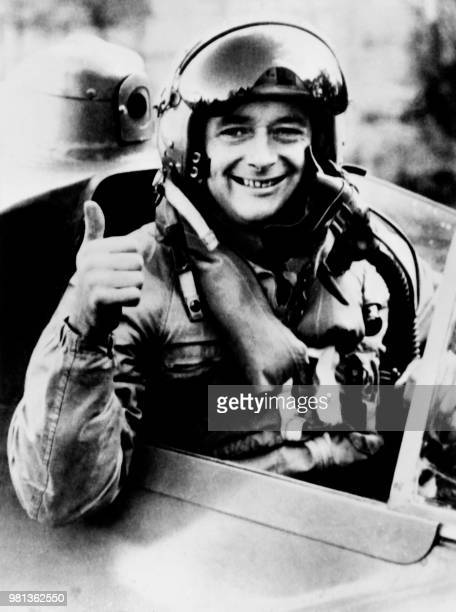 British racer speed record breaker Donald Campbell poses aboard the jet engined hydroplane Bluebird during a training session at the Dumbleyung lake...