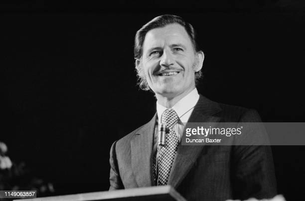 British racing driver and team owner Graham Hill giving a speech at a directors' lunch at the Albert Hall, London, UK, 6th November 1975.
