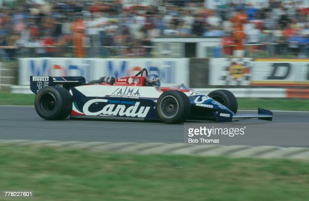 British racing driver Brian Henton drives the Candy Toleman Motorsport Toleman TG181 Hart 415T 15 L4 t during qualification for the 1981 British...