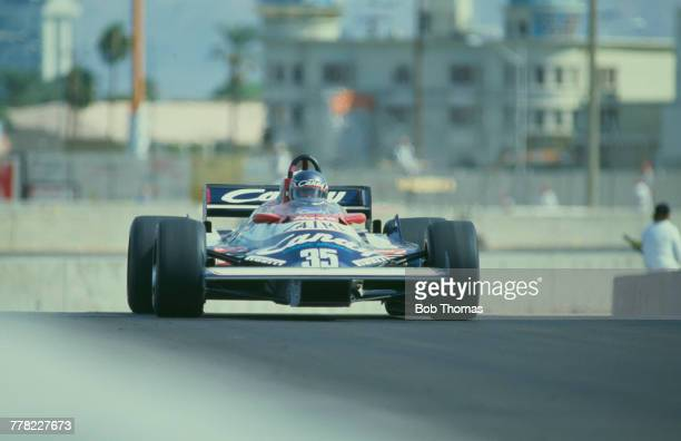 British racing driver Brian Henton drives the Candy Toleman Motorsport Toleman TG181 Hart 415T 15 L4 t during qualification for the 1981 Caesars...