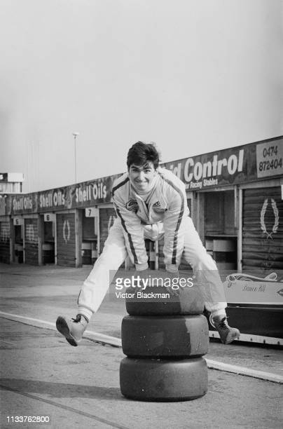 British racing driver Damon Hill jumping over tires at the BBC Grandstand FF2000 Winter Series, Brands Hatch Circuit, UK, 4th November 1983.