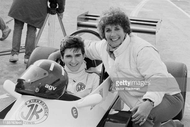 British racing driver Damon Hill on his JM14 Formula Ford 2000 with his mother Bette Hill at the qualifications for the BBC Grandstand FF2000 Winter...