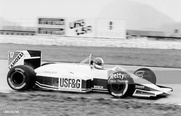 British racing driver Derek Warwick drives the USFG Arrows Megatron Arrows A10B Megatron M12/13 15 L4t to finish in 4th place in the 1988 Brazilian...