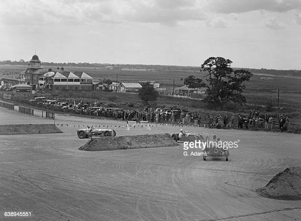 British racing driver George Eyston in the number 3 Aston-Martin GP, leading Henry Segrave in a Talbot 700 and Robert Benoist in a Delage 155B, in...