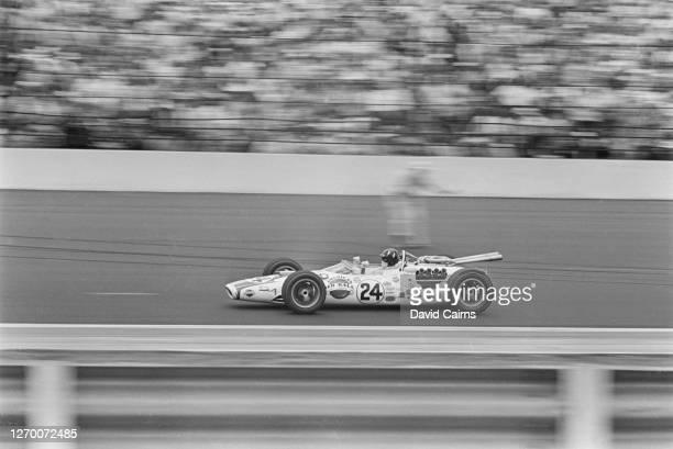 British racing driver Graham Hill driving a Lola-Ford to victory at the Indianapolis 500, Indiana, USA, 30th May 1966.