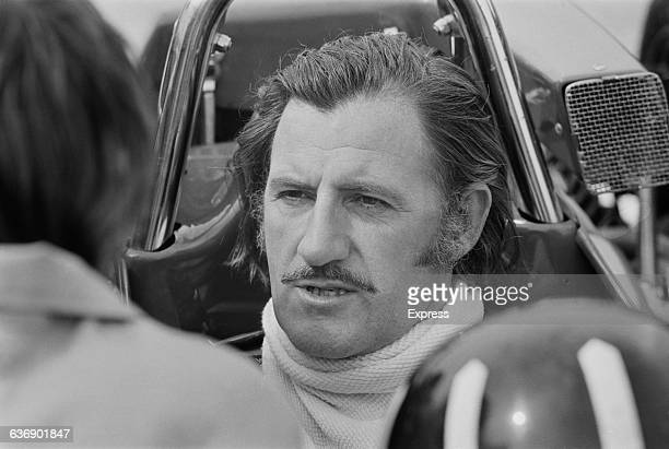British racing driver Graham Hill practises for the Daily Express International Trophy at Silverstone, UK, 6th May 1971.