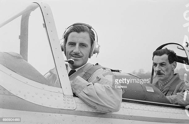 British racing driver Graham Hill takes flying lessons UK 29th April 1965 He died ten years later whilst piloting a twinengine aircraft in London
