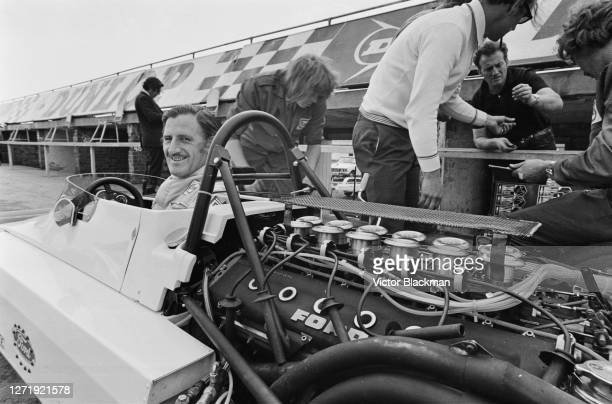 British racing driver Graham Hill test drives a Brabham Ford BT39 with a Ford-Weslake V12 engine at Silverstone, UK, 31st August 1972.
