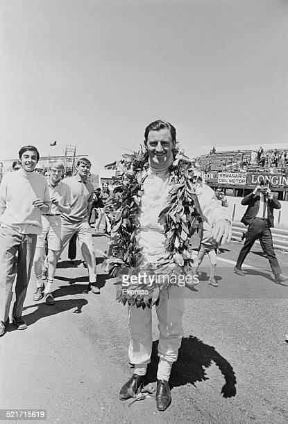 British racing driver Graham Hill wins the Spanish Grand Prix Jarama Spain 12th May 1968