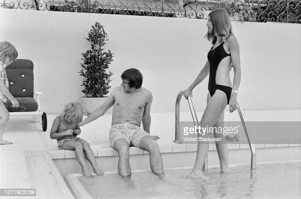 British racing driver Jackie Stewart his wife Helen and their sons Mark and Paul at their home UK 23rd July 1972 From the Daily Express photo serial...