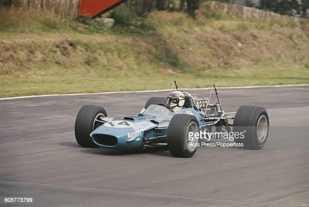 British racing driver Jackie Stewart of the Matra International team drives the Matra MS10 Cosworth DFV in practice prior to racing in the 1968...