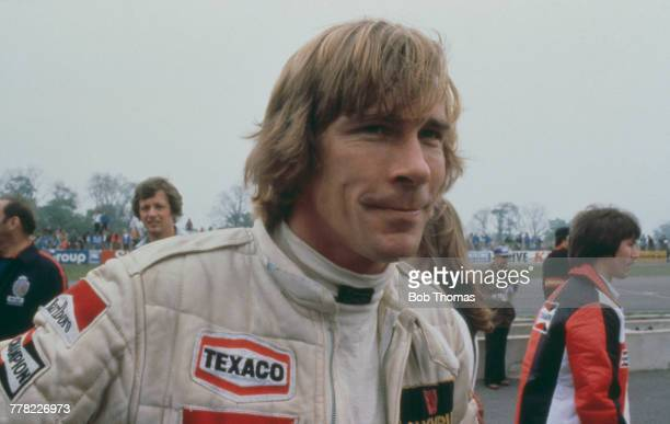 British racing driver James Hunt driver of the Olympus Cameras Wolf Racing Wolf WR8 Ford V8 pictured beside the track prior to racing in the Gunnar...