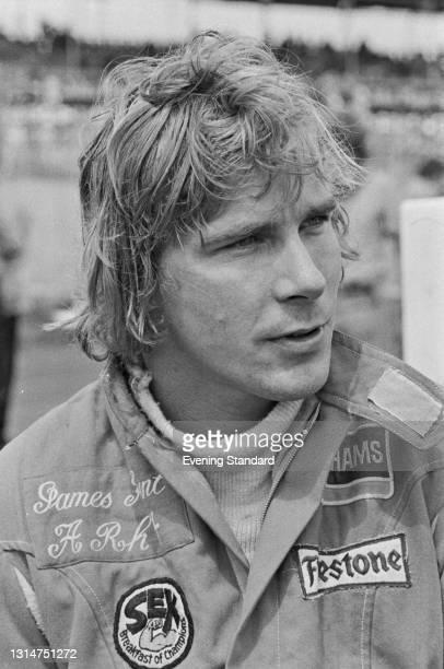 British racing driver James Hunt during the 1974 British Grand Prix at Brands Hatch, UK, 20th July 1974.