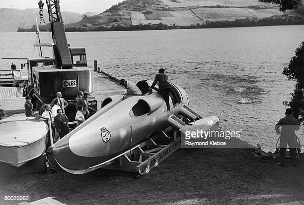British racing driver John Cobb's jet powered speed boat 'Crusader' is given an engine test on Temple Pier by Loch Ness Scotland during an attempt on...