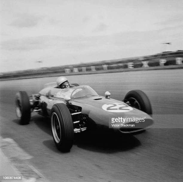 British racing driver John Surtees driving his Cooper T53Climax Yeoman Credit Racing Team during practice for the XIII British Empire Trophy...