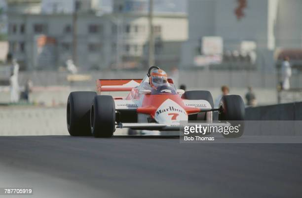British racing driver John Watson drives the Marlboro McLaren International McLaren MP4 Ford Cosworth DFV 30 V8 to finish in 7th place in the 1981...