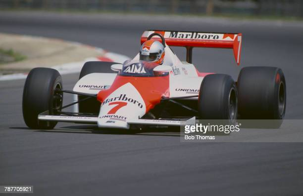 British racing driver John Watson drives the Marlboro McLaren International McLaren MP4/1C Ford Cosworth DFY 30 V8 to finish in 9th place in the 1983...