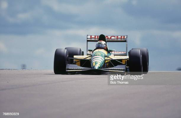 British racing driver Johnny Herbert drives the Team Lotus Lotus 107 Ford V8 in the 1992 British Grand Prix at Silverstone Circuit in England on 12th...