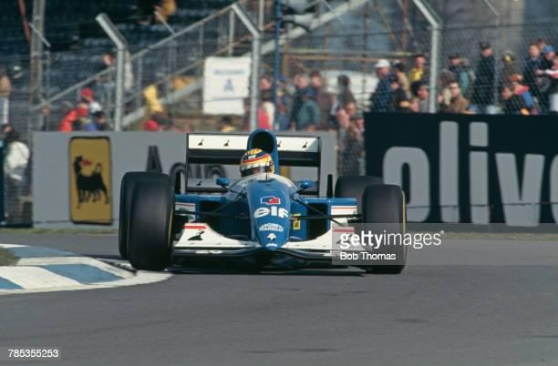 British racing driver Mark Blundell drives the Ligier Gitanes Blondes Ligier JS39 Renault V10 in the 1993 European Grand Prix at Donington Park...
